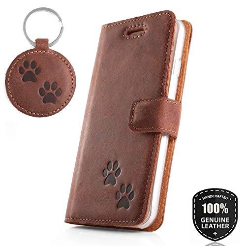SURAZO Doppel Pfote - Hülle Premium Vintage Ledertasche Schutzhülle Wallet Case aus Echtesleder Nubukleder Farbe Nussbraun für Huawei P30 Pro