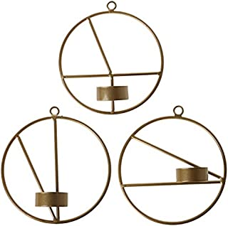 Gugulove Nordic Style 3d Geometric Metal Wall Candle Holder Round Candlestick Home Decoration - Industrial Vase Wall Outdoor Elephant Angel Yellow Wood India Silver Mirror Himalayan