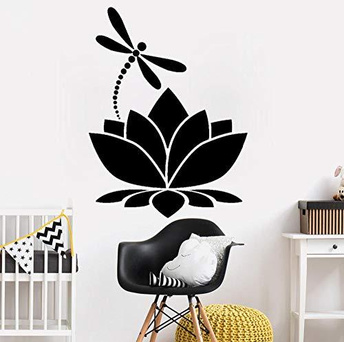 Adesivo Da Paretelotus Flower Dragonfly Meditation Yoga Studio Adesivo Per Camera Da Letto In Vinile Decorazioni Per La Casa Stickers Murali Decorazioni Per La Camera Delle Ragazze Murale 42X57Cm