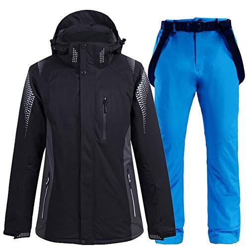 XUJINGJIE Damen Skianzug Wasserdicht Winddicht Winter Warmer Schneeanzug Skijacke + Skihose 2 Teilig Ski Anzüge,C,M