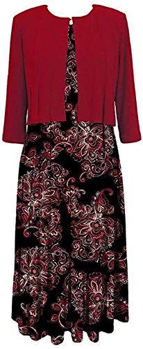 Julian Taylor Women's Two Piece 3/4 Sleeve Short Jacket and Midi Dress, Crimson/Black/Ivory, 6