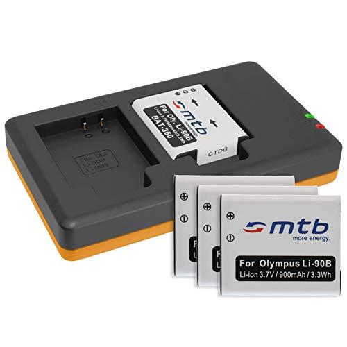 4 Batterie + Caricabatteria doppio (USB) per LI-90B Li-92B / Olympus Actioncam Tough TG Tracker/TG-1, TG-2, TG-3, TG-4, TG-5 / XZ-2 … v. lista - (Cavo USB micro incluso)