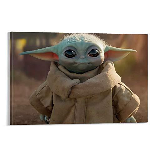DRAGON VINES Star Wars The Mandalorian Cute Baby Yoda Movie Leinwanddruck für Büro und Zuhause, 30 x 45 cm