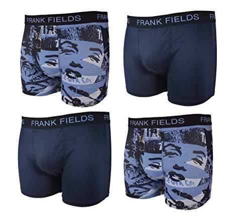 Frank Fields 4 Retroshorts hellblau/dunkelblau 2X Allover Druck und 2X Uni Gr. 5/M Boxershorts • anschmiegsam und atmungsaktiv • tolle Farben