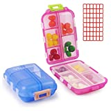 2 Pack Pill Case Portable Small 7-Day Weekly Travel Pill Organizer Portable Pocket Pill Box Dispenser for Purse Pocket Vitamin Fish Oil Daily Use Compartments Container Medicine Box (Blue + Light Red)