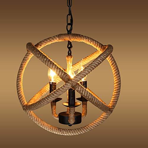 Bola creativa Cuerda de cáñamo Lámpara LED Lámpara de araña de estilo industrial retro americano Sala de estar Lámpara de decoración de estudio
