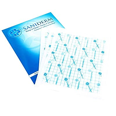 Saniderm Tattoo Bandage | Personal Pack | 3 Pre-Cut Sheets, Clear Adhesive Antibacterial Film