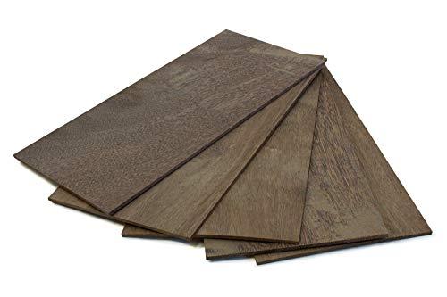 wodewa Holz Furnier Set 4mm Starkfurnier Sucupira 15x14cm 5er Set Sägefurnier Bastelholz Platten Echtholz Holzfurnier zum Basteln Holzplatte Bastelset Modellbau DIY