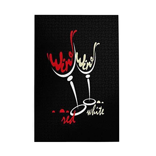 Rompecabezas relajante como presente para reunir 1000 piezas de madera, vasos de vino rojo blanco y rompecabezas.