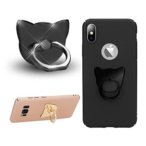 NALIA Fingerhalterung Ring-Halter Katze, Verstellbarer Fingergriff für Einhandbedienung Smartphone Universal-Ständer Multi-Winkel, kompatibel mit iPhone, kompatibel mit Samsung, etc, Farbe:Schwarz