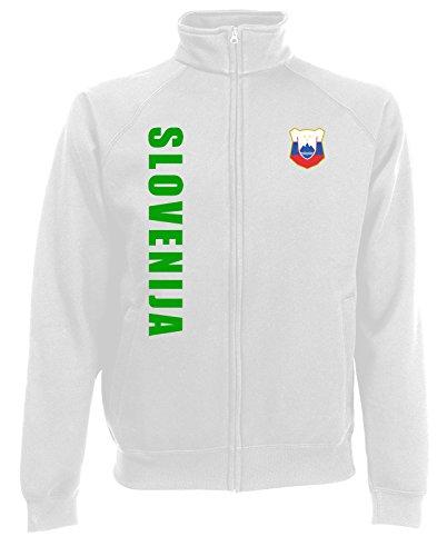 AkyTEX Slowenien Slowenija EM-2020 Sweatjacke Wunschname Nummer Weiß XL