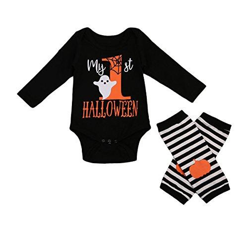 LY Baby Jungen Mädchen Kürbis Strampler Neugeborenen Bodysuit Halloween kostüm Outfits 2Pcs Set (0-3 Monate, Halloween)