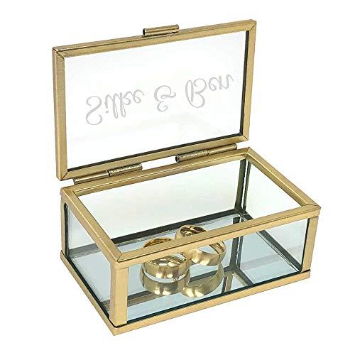 KATINGA Personalisierte Ringbox Gold aus Glas, Spiegelboden (gold matt DRUCK)