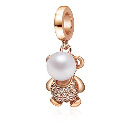 Soulbeads Jewelry Colgante de plata de ley 925 con perla de imitación y circonita transparente para pulsera, diseño de oso de oro rosa
