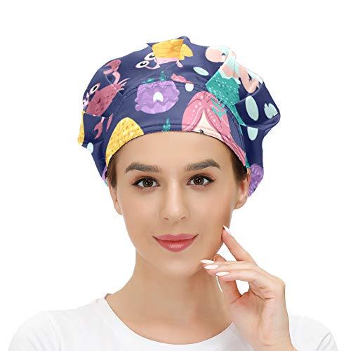 Damen Kappe für langes Haar, Arbeitsmütze mit Schweißband, elastisch, verstellbar, Arbeitskappen für Männer, Kopftuch, 3D-gedruckte Hüte, niedliche Meerjungfrauen,...