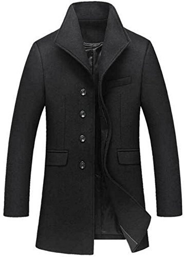 JEWOSOR Mens Fashion Wool Slim Fit Long Business Coat Winter Wool Jacket Overcoat Trench Peacoat (Large, Black)