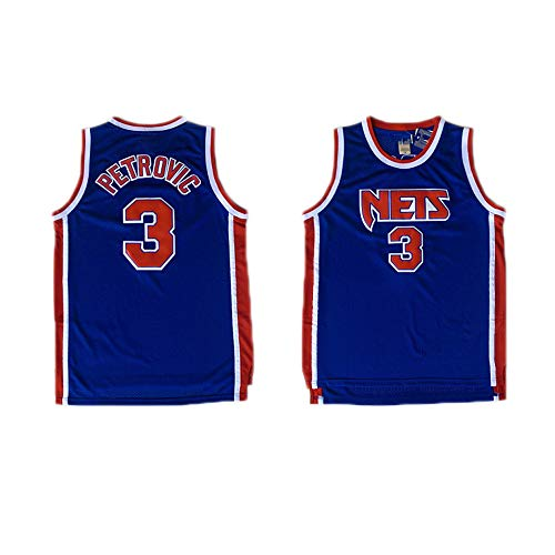 LITBIT Baloncesto de los Hombres NBA Jersey Vintage Brooklyn Nets 3# Petrovic Transpirable Quick Secking sin Mangas Vestima Top para los Deportes,Azul,L