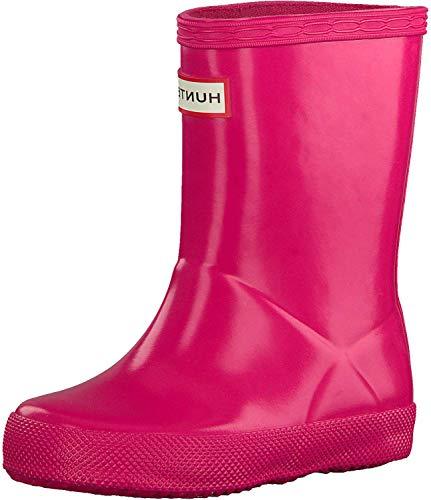 Hunter Kids Original - Botas de lluvia clásicas brillantes para niños, talla M, color rosa brillante