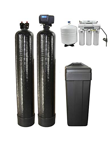 DuraWater Fleck 5600SXT Metered Softener UpFlow 1.5 Cubic Ft Carbon Reverse Osmosis Drinking Water Filter Combo Package, Black
