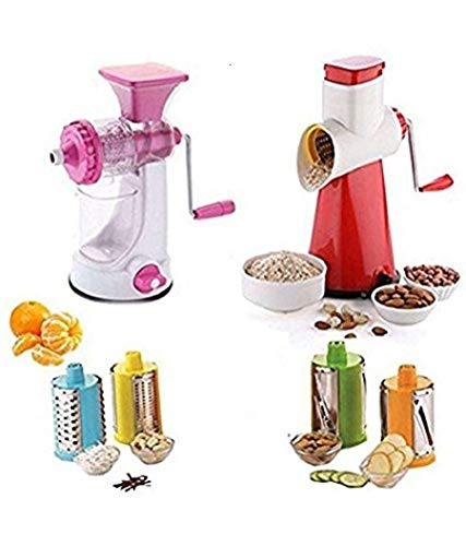 Yuvi fashion point® - Heavy Manual Fruit and Vegetable Juicer + 4 in 1 Drum Slicer, Grater, Shredder, Steel Handle (Kitchen Tool Set Combo) - Color May Vary