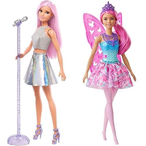 Barbie Quiero Ser Cantante, Muñeca con Accesorios (Mattel Fxn98)+ Dreamtopia Muñeca Hada, con Pelo Rosa, Alas Y Corona (Mattel Gjj99), Color/Modelo Surtido
