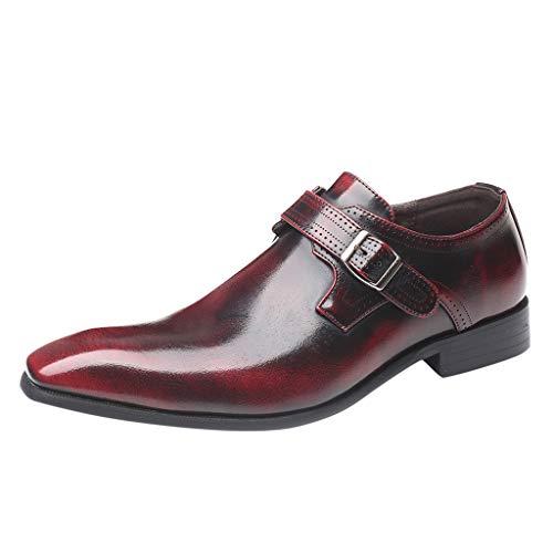 FNKDOR Schuhe Herren Lackleder Spitz Schnalle Elegant Anzugschuhe Slip-on Business-Schuhe Berufsschuhe Bankett Party Hochzeitsschuhe Rot 45 EU