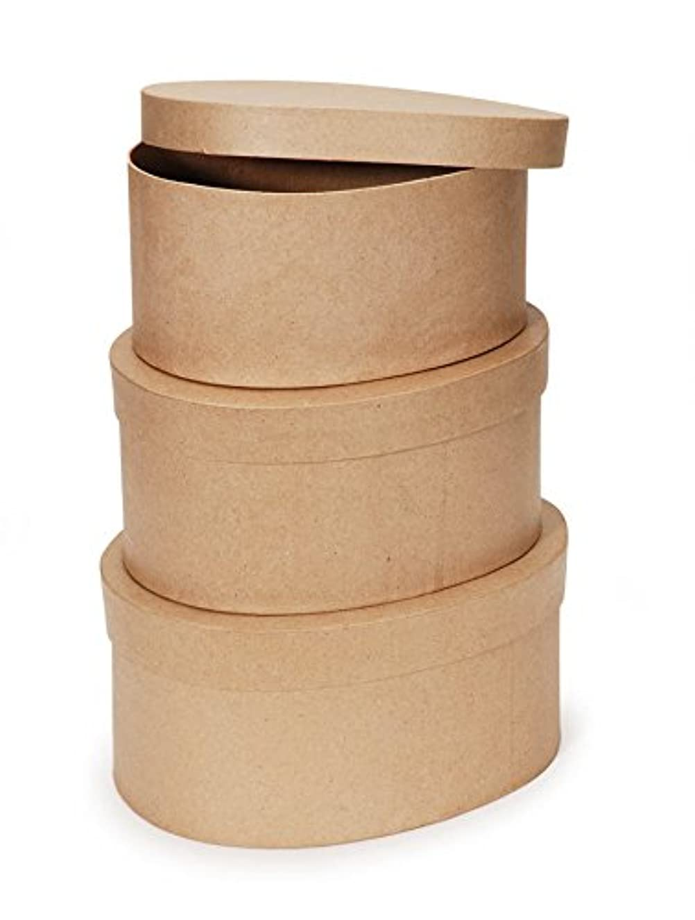 "Darice Paper Mache Craft Boxes – 8"", 9"" and 10"" Oval Boxes with Lids – Sturdy Boxes Come Nested Inside Each Other – Perfect for Decorating – Create Card Boxes, Centerpieces and More, Set of 3"