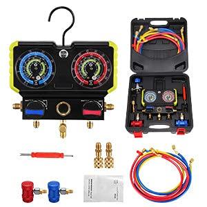 Kacsoo manometro del collettore 4000psi Set manometro collettore con Finestra Obsere e Luce a LED Collettore Aria Condizionata per L'aspirazione del Freon,per Refrigeranti R134A, R410A, R22
