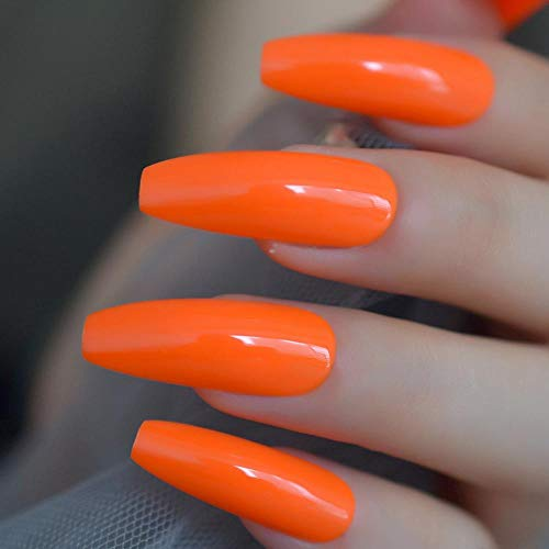 TJJF Mode Solide Couleur Néon Orange Extra Long Ballerine Cercueil Uv Faux Ongles Doigt Plat Faux Nail Press On Party Nail Art