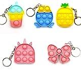5 Pcs Mini Pop Fidget Simple Dimple Toy,Mini Push Pop Fidget Toy Keychain,Mini Rainbow Tie dye Bubble Wrap Sensory Silicone Toy, Autism Needs Stress Reliever Tactile Logic Game for Kids
