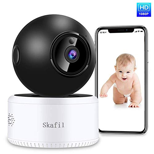 Wireless Security Camera, Skafil Baby Monitor 1080P HD WiFi Home Camera, IP Camera Indoor for Pet, Two-Way Audio, Night Vision, Motion Detection, TF Card Slot and Cloud Cameras Dome