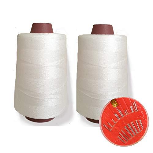 2 Conos de Hilos Overlock 100% Poliéster para Coser a Máquina y Remallar – 40S/2, 4600 Yardas – Hilo Para Remalladora Resistente, Duradero, Colores Brillantes de Máxima Calidad (Blanco)