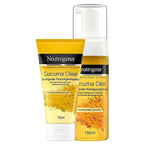 Neutrogena Curcuma Clear Beruhigende Gesichtspflege im Set - Beruhigende Feuchtigkeitspflege & Beruhigender Reinigungsschaum - gegen Unreinheiten für sensible Haut