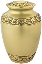Silverlight Urns, Classic Laurel Gold Urn Extra Large, Companion Urn, Urn for Large Person, Brass Extra Large Urn