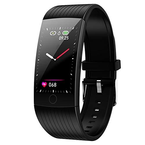 HDDFG Pulsera Inteligente Impermeable Frecuencia cardíaca Banda Inteligente Reloj Despertador Reloj Deportivo Reloj Inteligente para teléfono Android iOS (Color : Black)