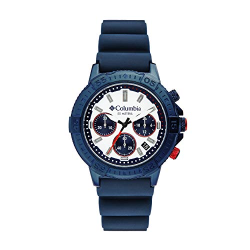 Columbia Peak Patrol Stainless Steel Quartz Sport Watch with Silicone Strap, Navy, 13 (Model: CSC03-006)