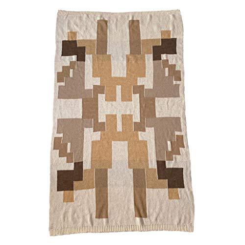 Blanket Manta de Tiro de patrón geométrico de algodón, Suave Peso Ligero cálido Cozy Knit Knit Camping Picnic Couch Silla Sofá Sofá Interior al Aire Libre - Sala de Estar Decoración