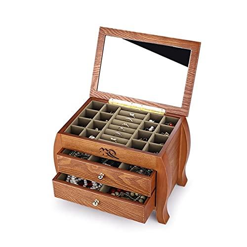 Organizador de joyas de madera, 3 capas, caja de almacenamiento para joyas con espejo