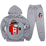 Among Us Canada Chándal Niños Niñas Sudadera con capucha y pantalones de chándal Conjunto de suéter de moda