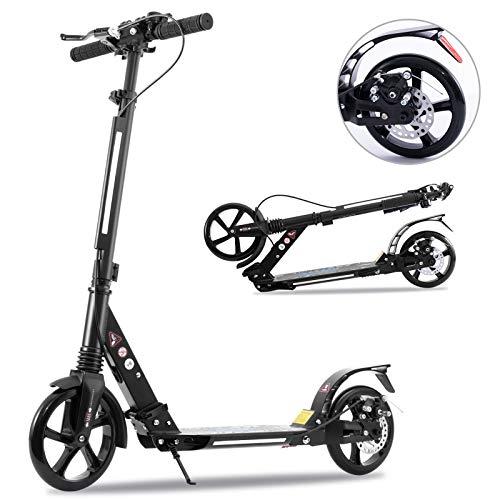 Tenboom - Patinete para niños y adultos, 2 ruedas grandes con manillar ajustable y freno de mano, construcción de aluminio soldado, freno de pie trasero (negro)