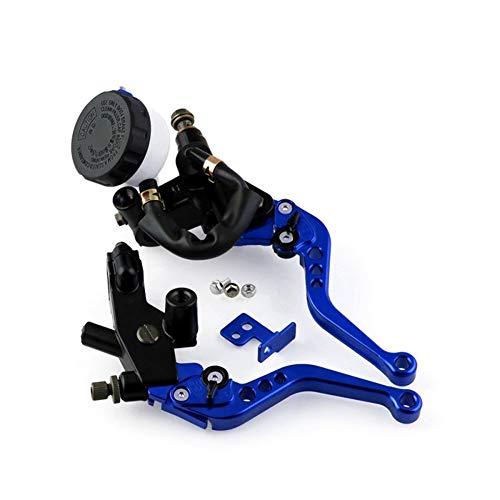 Motorrad-Bremshebel Universal-Motorräder CNC 7/8 22mm Vorderradbremse Kupplungsgeberzylinder Reservoir Hebel Aluminiumlegierung Motorrad Handbremse (Farbe : Blau)