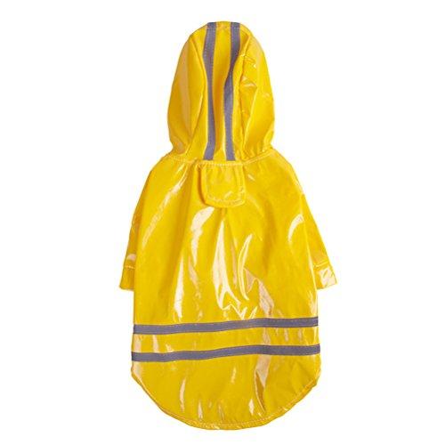 Chaqueta Impermeable para Perro UEETEK Chubasquero para Perro de Mascota con Banda Reflectante (Amarillo) size M