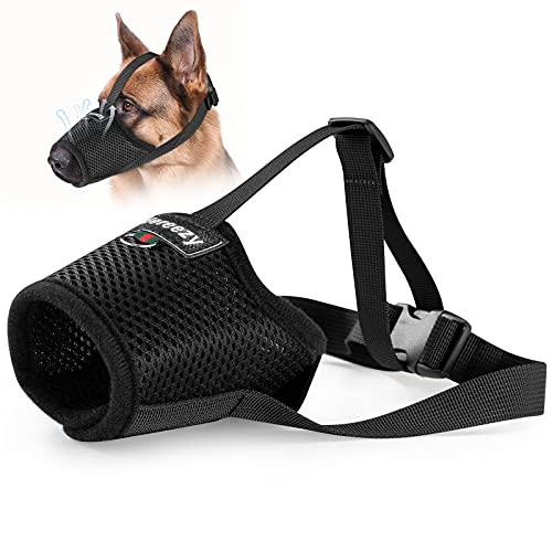 Dog Muzzle, Mesh Breathable Dog Muzzles for Biting Barking and Chewing, Adjustable Pets Muzzle for Small Medium Large Extra Dogs with Velcro and...