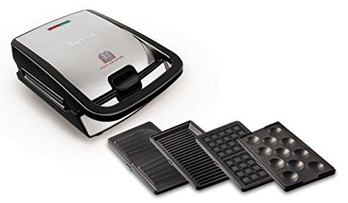 Tefal SW854D16 700W Negro, Acero inoxidable - Sandwichera (700 W, Negro, Acero inoxidable, 2 pieza(s), 32 pieza(s))