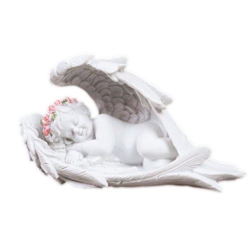 Engel Figur weiß mit rosa Kranz liegend Art. 12846 14 x 6 x 7 cm