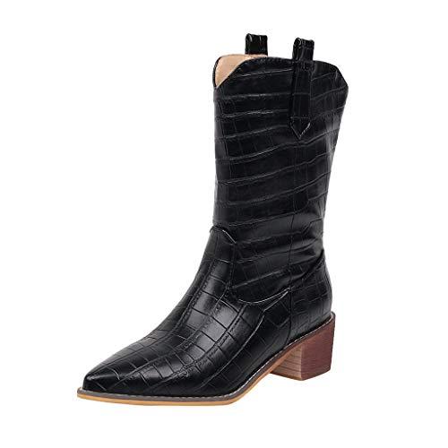 Frauen Stiefel Square Heels Wies Slip-On Casual Bestickte Rodeo Cowboy Stiefel Krokoprägung Martin Stiefel(37 EU,Schwarz)