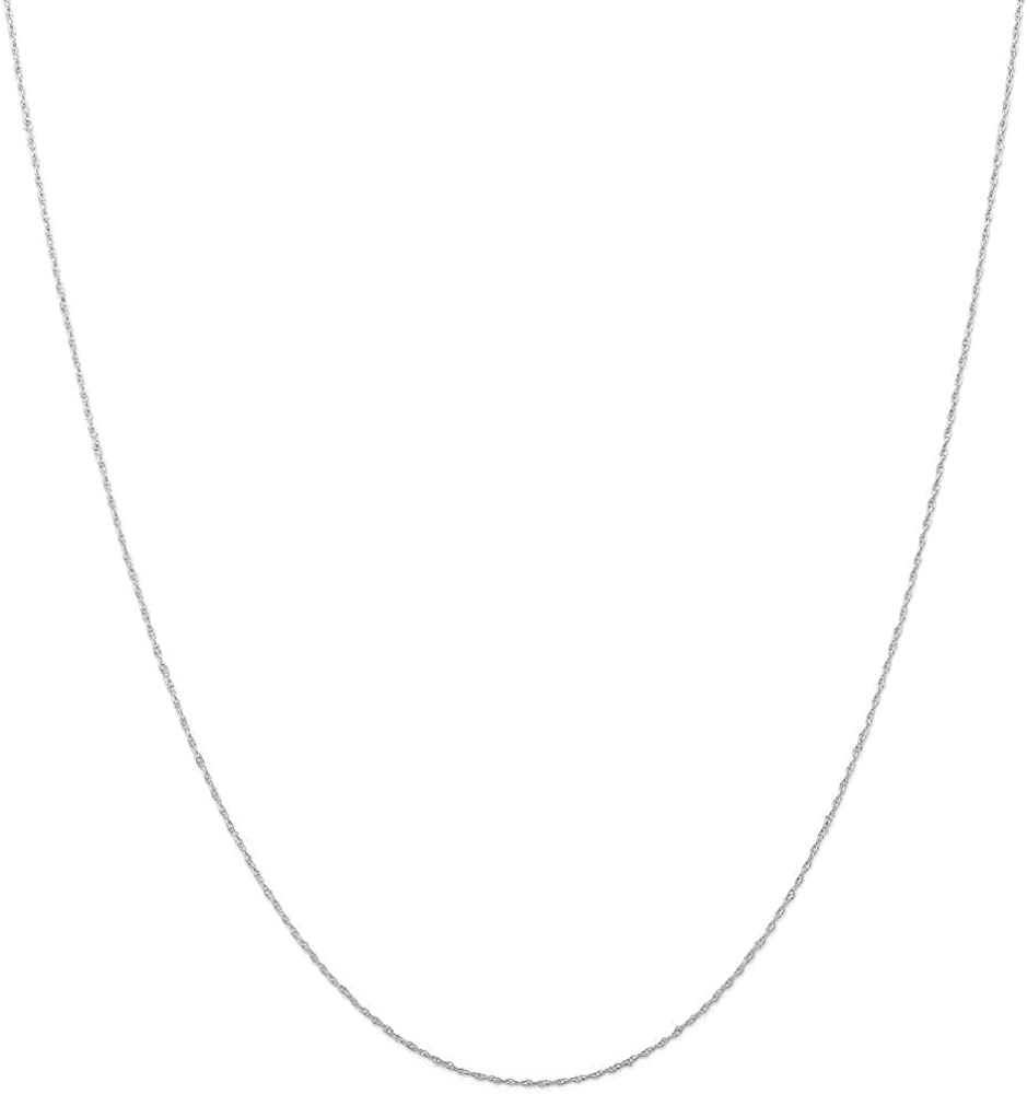 10k White Gold .5mm Cable Link Rope Chain Necklace 18 Inch Pendant Charm Carded Fine Jewelry For Women Gifts For Her
