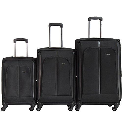 Shaik® Serie SOMLA Design BSL 3 Größen M | L | XL | Set | Softcase Weichgepäck Kofferset, 4 Doppelrollen, Zahlenschloss (3er Set, Schwarz)