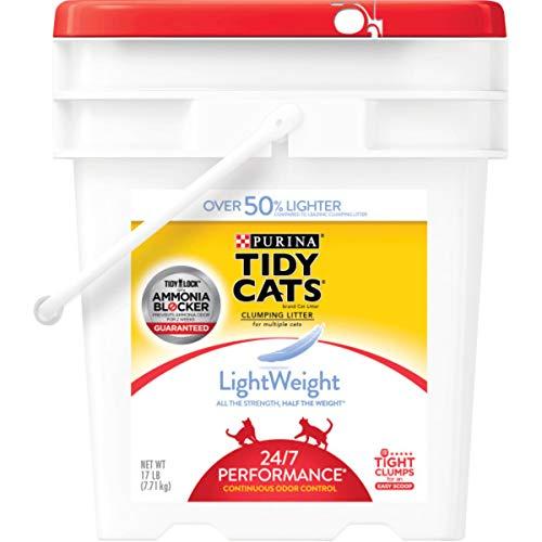 Purina Tidy Cats Light Weight, Low Dust, Clumping Cat Litter, LightWeight 24/7 Performance Multi Cat Litter - 17 lb. Pail