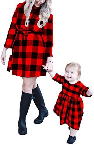 Eghunooye Mutter und Tochter Kleider Set Langarm Plaid gedruckt Kleider Damen Kleinkind Mädchen Shirtkleid Hemdkleid Familie Matching Kleidung Mama Kind Outfits (Rot/Baby, M/4-5Jahre)